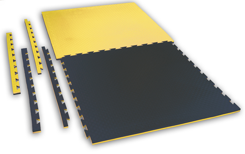 Reversible Puzzle Mat Checker 2 cm yellow/black