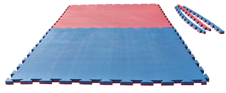 Reversible Puzzle Mat Checker 2 cm blue/red